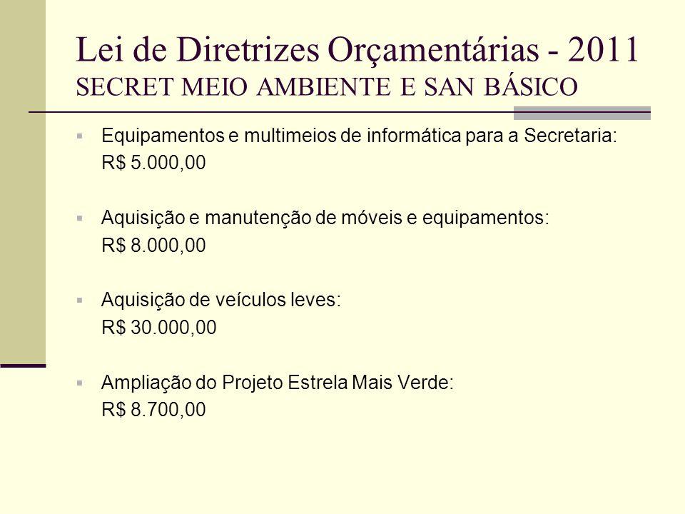 Lei de Diretrizes Orçamentárias - 2011 SECRET MEIO AMBIENTE E SAN BÁSICO Equipamentos e multimeios de informática para a Secretaria: R$ 5.000,00 Aquis
