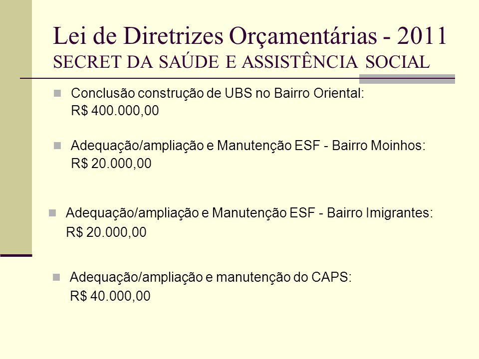Lei de Diretrizes Orçamentárias - 2011 SECRET DA SAÚDE E ASSISTÊNCIA SOCIAL Conclusão construção de UBS no Bairro Oriental: R$ 400.000,00 Adequação/am
