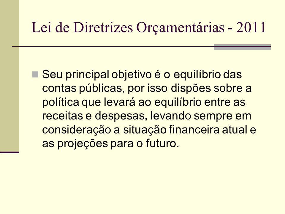 Lei de Diretrizes Orçamentárias - 2011 Seu principal objetivo é o equilíbrio das contas públicas, por isso dispões sobre a política que levará ao equi