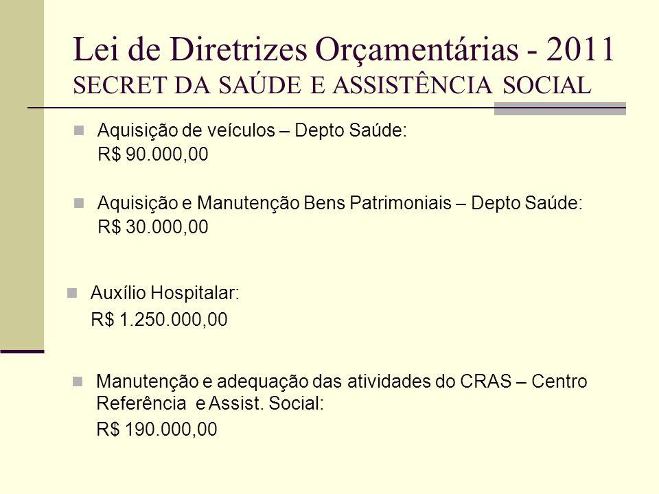 Lei de Diretrizes Orçamentárias - 2011 SECRET DA SAÚDE E ASSISTÊNCIA SOCIAL Aquisição de veículos – Depto Saúde: R$ 90.000,00 Aquisição e Manutenção B