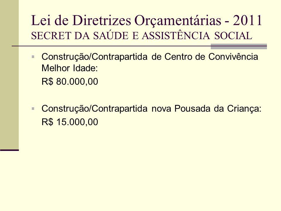 Lei de Diretrizes Orçamentárias - 2011 SECRET DA SAÚDE E ASSISTÊNCIA SOCIAL Construção/Contrapartida de Centro de Convivência Melhor Idade: R$ 80.000,