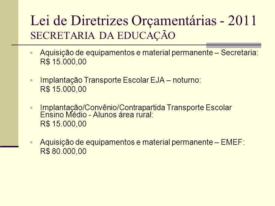 Lei de Diretrizes Orçamentárias - 2011 SECRETARIA DA EDUCAÇÃO Aquisição de equipamentos e material permanente – Secretaria: R$ 15.000,00 Implantação T