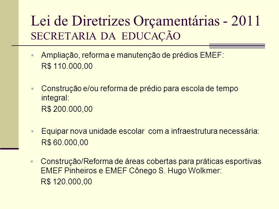 Lei de Diretrizes Orçamentárias - 2011 SECRETARIA DA EDUCAÇÃO Ampliação, reforma e manutenção de prédios EMEF: R$ 110.000,00 Construção e/ou reforma d
