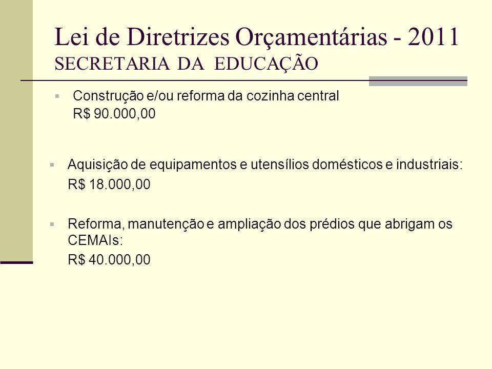 Lei de Diretrizes Orçamentárias - 2011 SECRETARIA DA EDUCAÇÃO Construção e/ou reforma da cozinha central R$ 90.000,00 Aquisição de equipamentos e uten