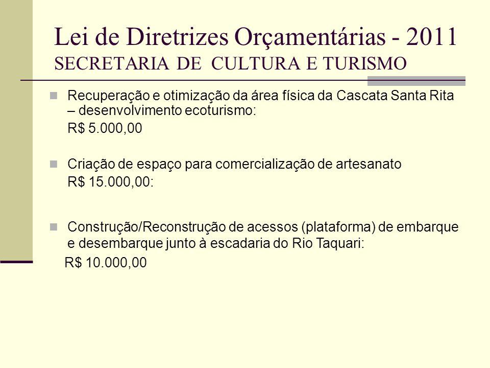 Lei de Diretrizes Orçamentárias - 2011 SECRETARIA DE CULTURA E TURISMO Recuperação e otimização da área física da Cascata Santa Rita – desenvolvimento