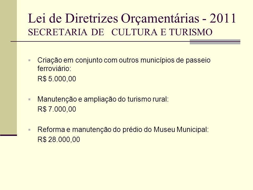Lei de Diretrizes Orçamentárias - 2011 SECRETARIA DE CULTURA E TURISMO Criação em conjunto com outros municípios de passeio ferroviário: R$ 5.000,00 M