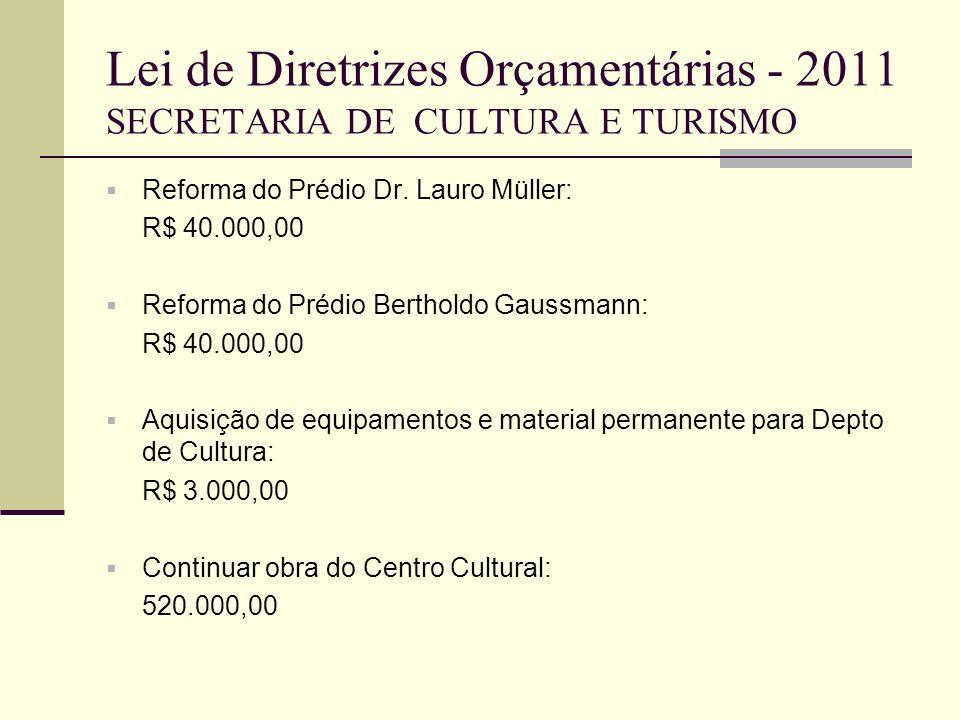 Lei de Diretrizes Orçamentárias - 2011 SECRETARIA DE CULTURA E TURISMO Reforma do Prédio Dr. Lauro Müller: R$ 40.000,00 Reforma do Prédio Bertholdo Ga