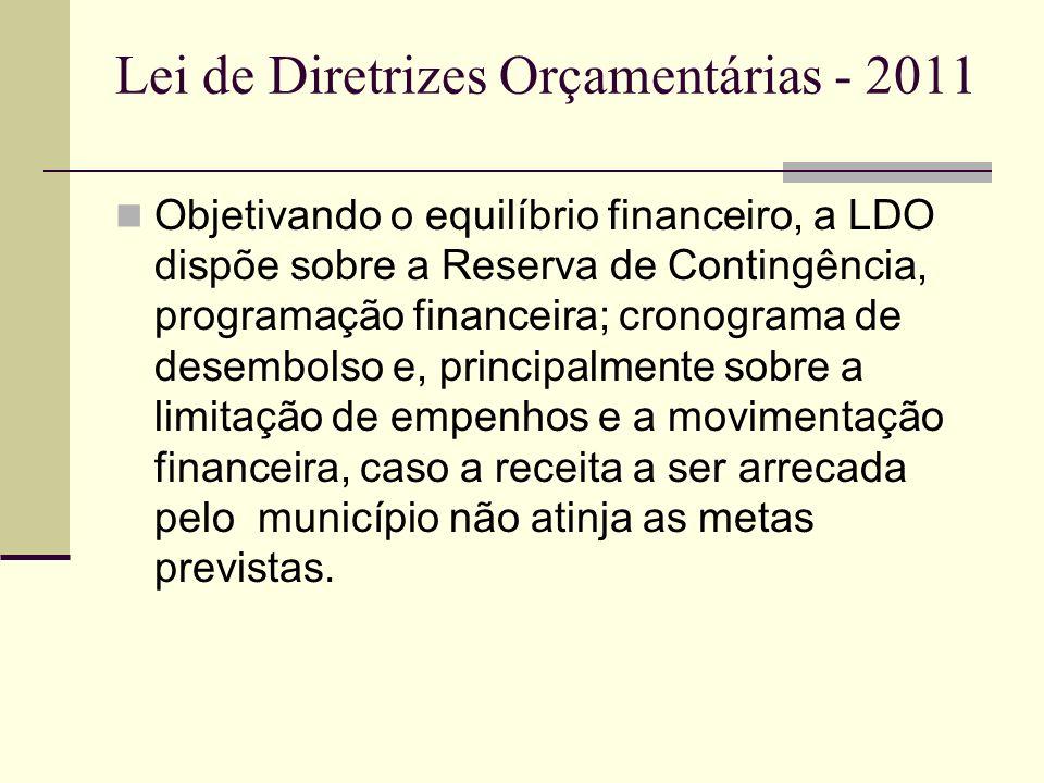 Lei de Diretrizes Orçamentárias - 2011 A LDO para o exercício de 2011 foi estimada em R$ 50.010.000,00 Neste valor estão incluídos todas as ações, inclusive de manutenção, despesas com folha de pagamento, dívidas, e verbas vinculadas.