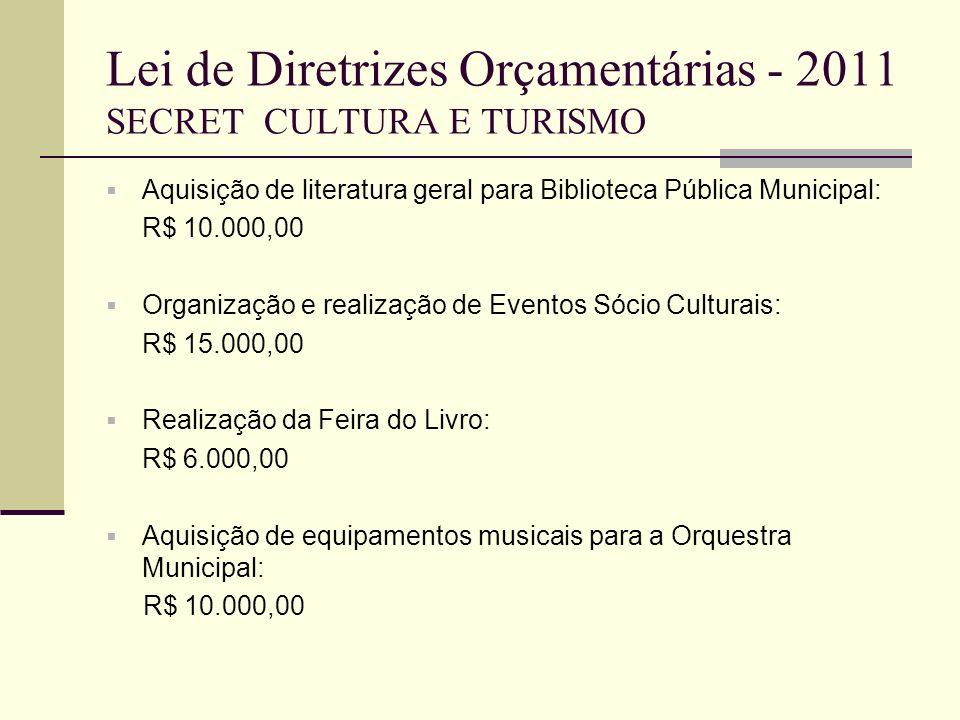 Lei de Diretrizes Orçamentárias - 2011 SECRET CULTURA E TURISMO Aquisição de literatura geral para Biblioteca Pública Municipal: R$ 10.000,00 Organiza