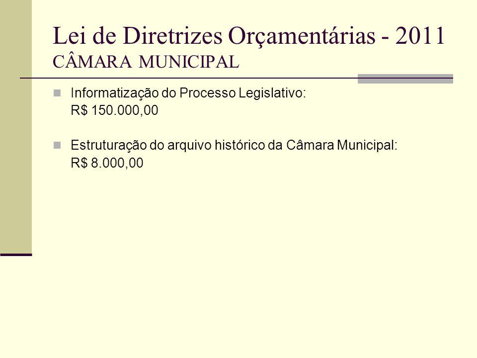 Lei de Diretrizes Orçamentárias - 2011 CÂMARA MUNICIPAL Informatização do Processo Legislativo: R$ 150.000,00 Estruturação do arquivo histórico da Câm