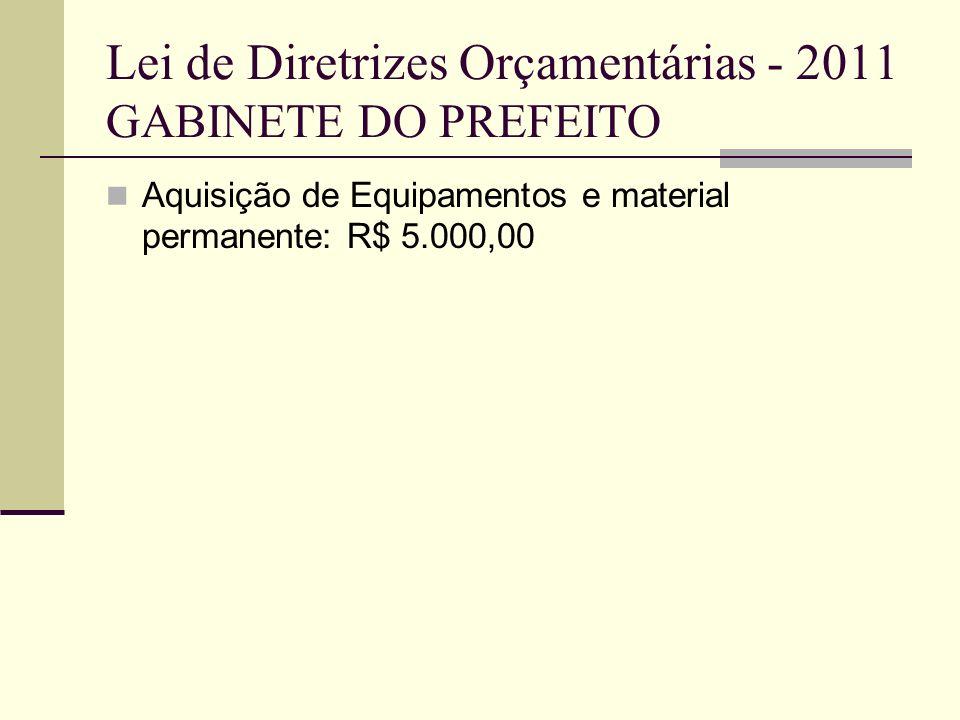 Lei de Diretrizes Orçamentárias - 2011 SECRETARIA DA AGRICULTURA-FUNTER Manutenção e modernização das Telecomunicações R$ 150.000,00 Compra e manutenção de veículos: R$ 50.000,00 Equipar setor da Telefonia R$ 30.000,00 Informatizar as propriedades rurais R$ 50.000,00