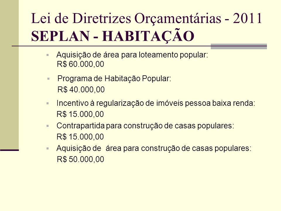 Lei de Diretrizes Orçamentárias - 2011 SEPLAN- Incentivo à empresas: R$ 500.000,00 Promoção de eventos para a valorização e qualificação da economia local: R$ 6.000,00 Aquisição de áreas para instalação de empresas: R$ 70.000,00