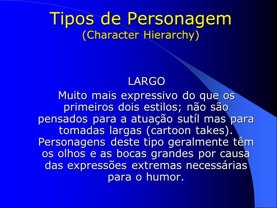 LARGO LARGO Muito mais expressivo do que os primeiros dois estilos; não são pensados para a atuação sutíl mas para tomadas largas (cartoon takes). Per