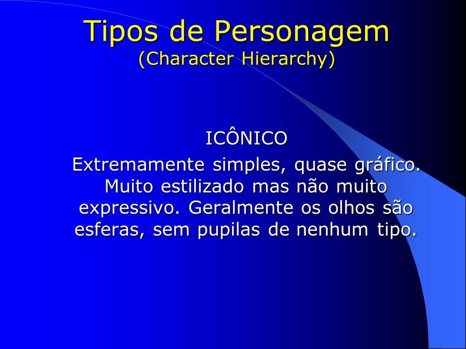 Tipos de Personagem (Character Hierarchy) ICÔNICO ICÔNICO Extremamente simples, quase gráfico. Muito estilizado mas não muito expressivo. Geralmente o