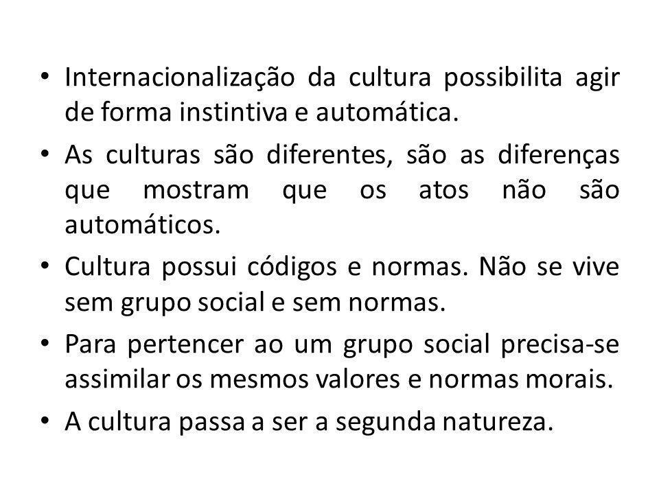 Internacionalização da cultura possibilita agir de forma instintiva e automática. As culturas são diferentes, são as diferenças que mostram que os ato