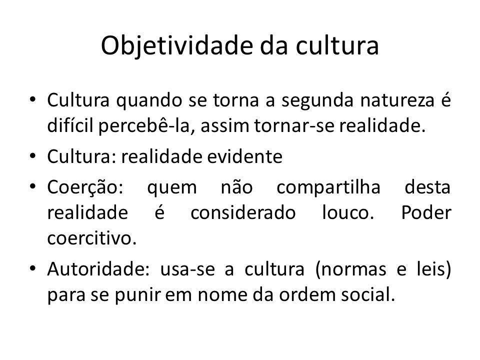 Objetividade da cultura Cultura quando se torna a segunda natureza é difícil percebê-la, assim tornar-se realidade. Cultura: realidade evidente Coerçã