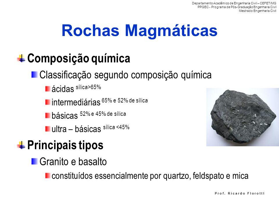 Rochas Magmáticas Composição química Classificação segundo composição química ácidas sílica>65% intermediárias 65% e 52% de sílica básicas 52% e 45% d