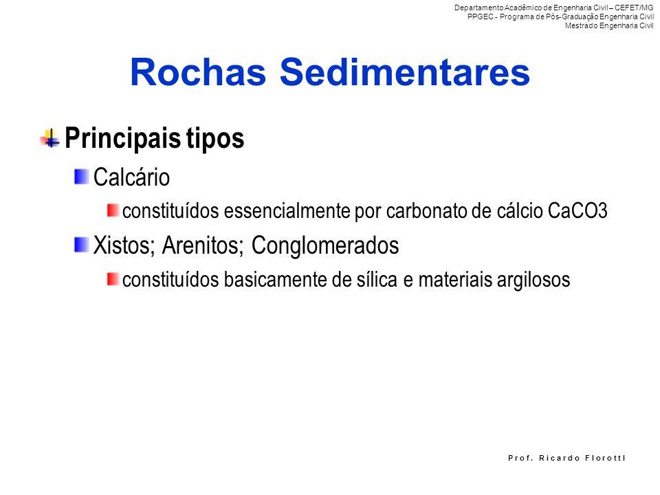 Rochas Sedimentares Principais tipos Calcário constituídos essencialmente por carbonato de cálcio CaCO3 Xistos; Arenitos; Conglomerados constituídos b
