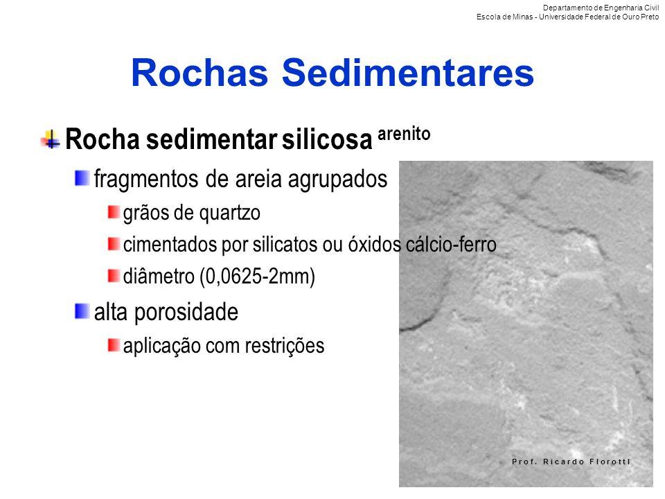 P r o f. R i c a r d o F I o r o t t I Rochas Sedimentares Rocha sedimentar silicosa arenito fragmentos de areia agrupados grãos de quartzo cimentados