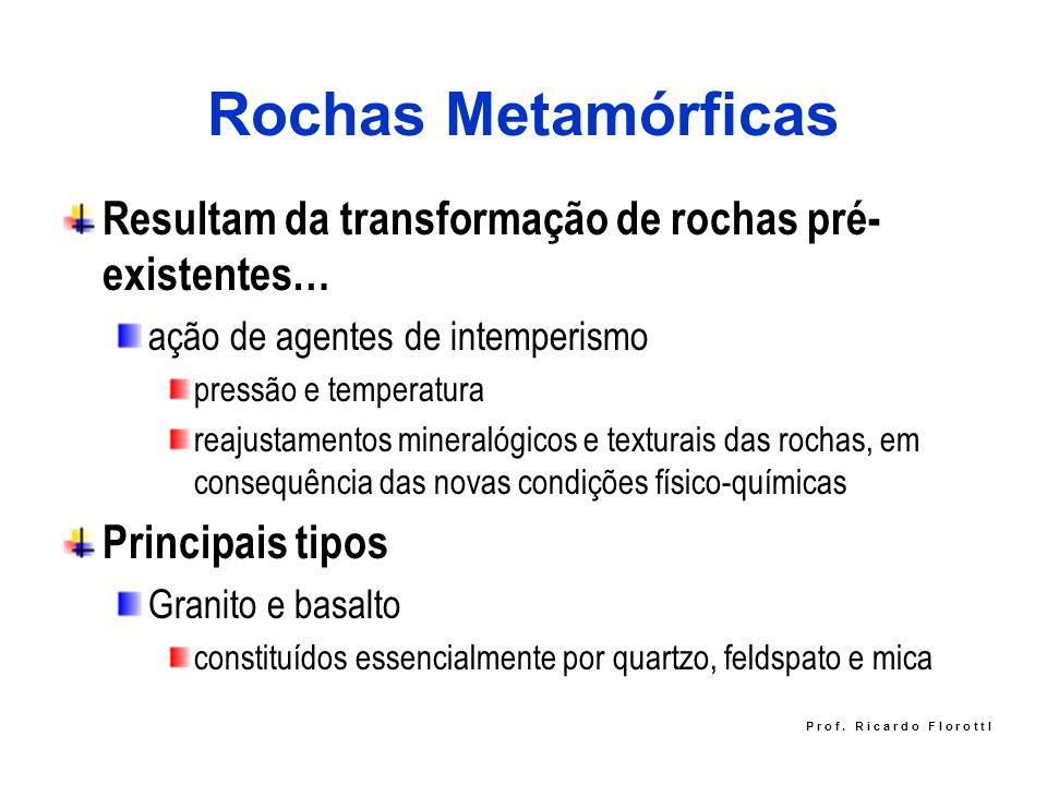 Rochas Metamórficas Resultam da transformação de rochas pré- existentes… ação de agentes de intemperismo pressão e temperatura reajustamentos mineraló