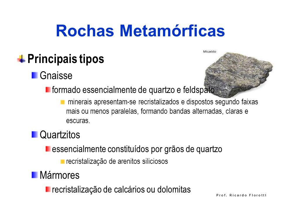 Rochas Metamórficas Principais tipos Gnaisse formado essencialmente de quartzo e feldspato minerais apresentam-se recristalizados e dispostos segundo