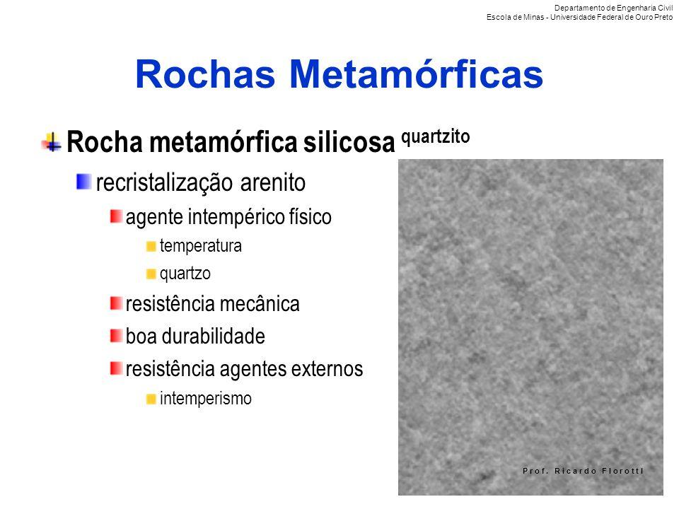 P r o f. R i c a r d o F I o r o t t I Rochas Metamórficas Rocha metamórfica silicosa quartzito recristalização arenito agente intempérico físico temp