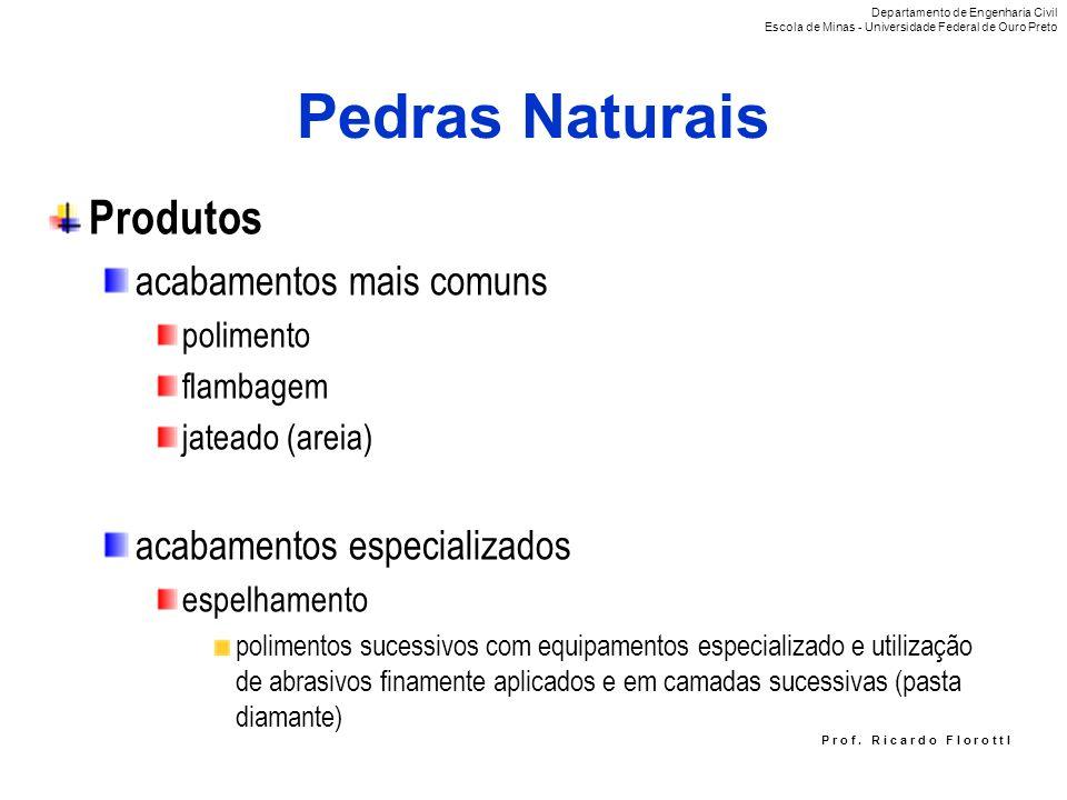 P r o f. R i c a r d o F I o r o t t I Pedras Naturais Produtos acabamentos mais comuns polimento flambagem jateado (areia) acabamentos especializados