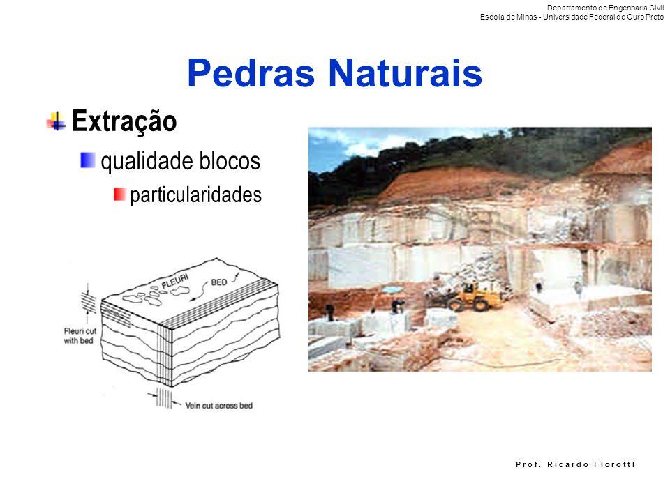 P r o f. R i c a r d o F I o r o t t I Pedras Naturais Extração qualidade blocos particularidades Departamento de Engenharia Civil Escola de Minas - U