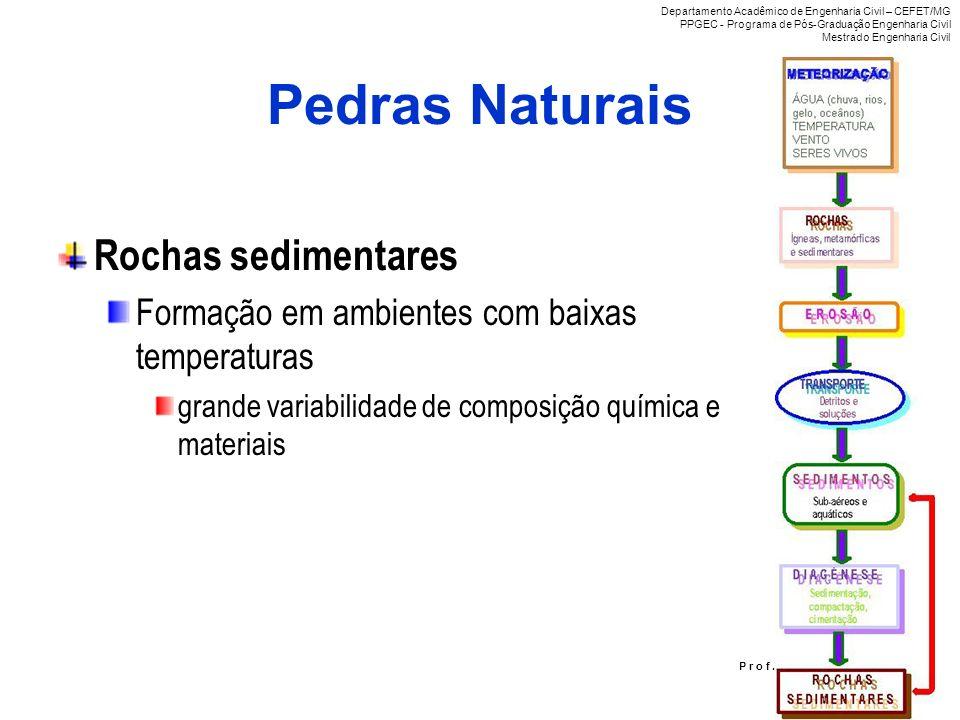 Pedras Naturais Rochas sedimentares Formação em ambientes com baixas temperaturas grande variabilidade de composição química e materiais P r o f. R i