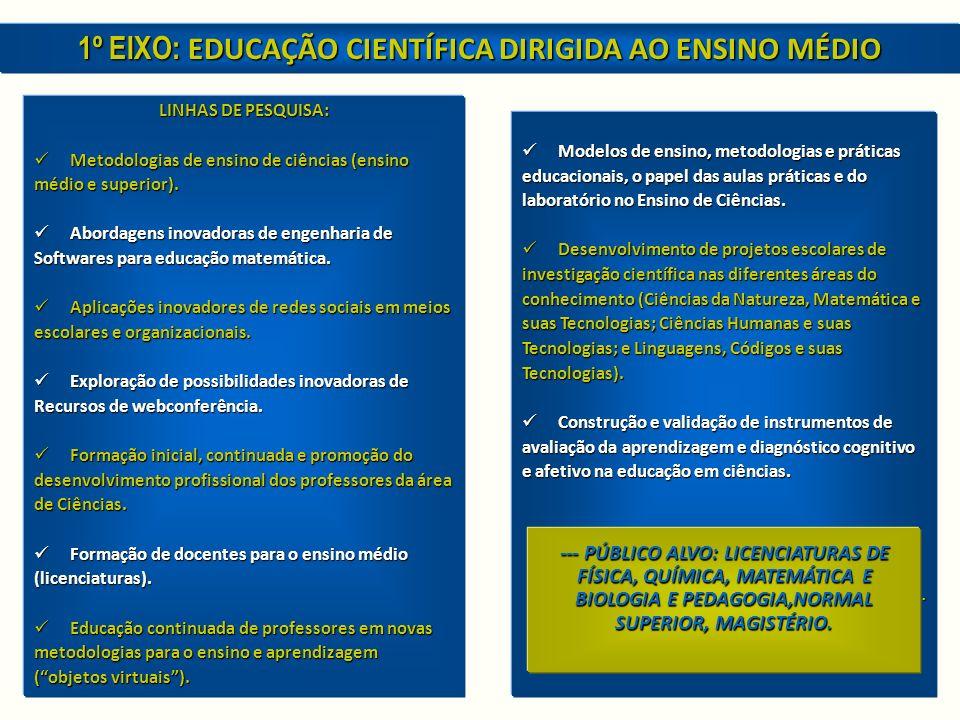 LINHAS DE PESQUISA: Metodologias de ensino de ciências (ensino Metodologias de ensino de ciências (ensino médio e superior).