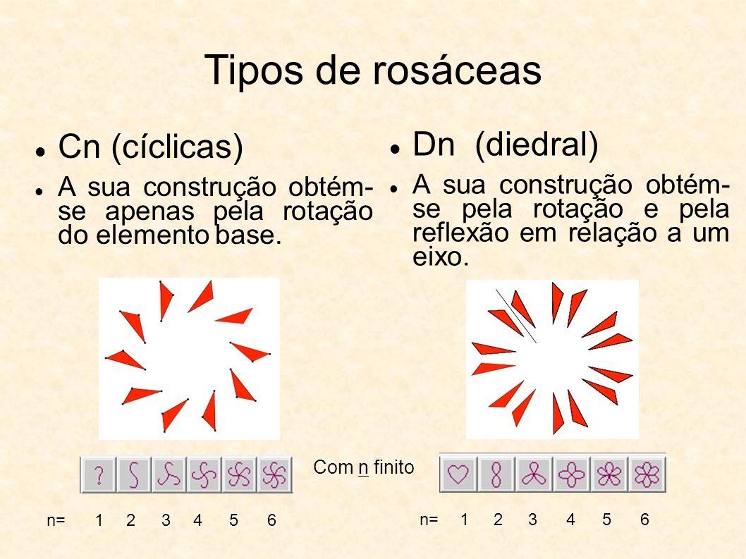 Tipos de rosáceas Cn (cíclicas) A sua construção obtém- se apenas pela rotação do elemento base. Dn (diedral) A sua construção obtém- se pela rotação