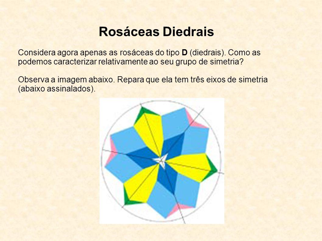 Rosáceas Diedrais Considera agora apenas as rosáceas do tipo D (diedrais). Como as podemos caracterizar relativamente ao seu grupo de simetria? Observ