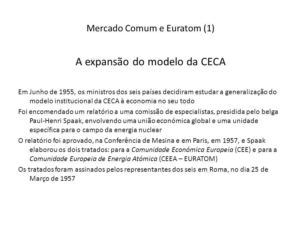 Mercado Comum e Euratom (1) A expansão do modelo da CECA Em Junho de 1955, os ministros dos seis países decidiram estudar a generalização do modelo institucional da CECA à economia no seu todo Foi encomendado um relatório a uma comissão de especialistas, presidida pelo belga Paul-Henri Spaak, envolvendo uma união económica global e uma unidade específica para o campo da energia nuclear O relatório foi aprovado, na Conferência de Mesina e em Paris, em 1957, e Spaak elaborou os dois tratados: para a Comunidade Económica Europeia (CEE) e para a Comunidade Europeia de Energia Atómica (CEEA – EURATOM) Os tratados foram assinados pelos representantes dos seis em Roma, no dia 25 de Março de 1957
