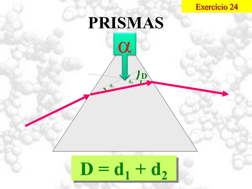PRISMAS d1d1 d2d2 D D = d 1 + d 2 Exercício 24