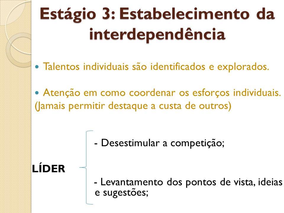 Estágio 3: Estabelecimento da interdependência Talentos individuais são identificados e explorados. Atenção em como coordenar os esforços individuais.
