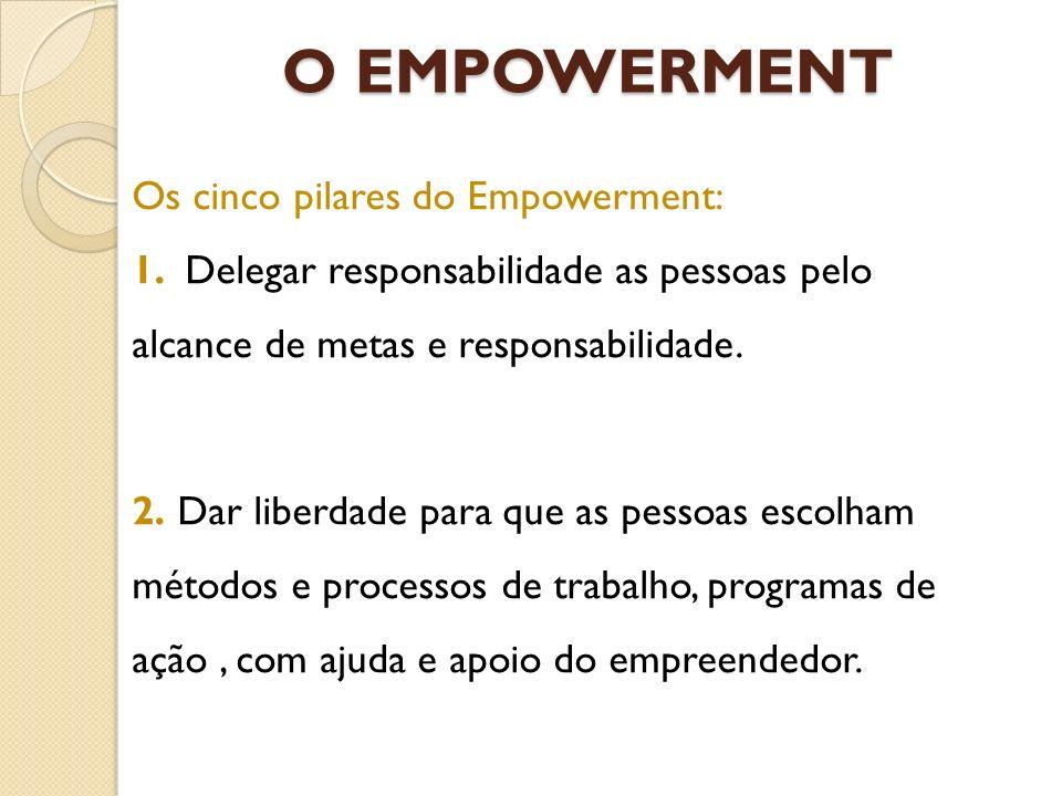 O EMPOWERMENT Os cinco pilares do Empowerment: 1. Delegar responsabilidade as pessoas pelo alcance de metas e responsabilidade. 2. Dar liberdade para