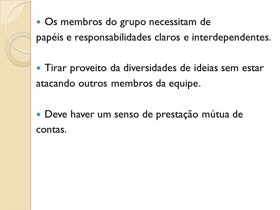 Os membros do grupo necessitam de papéis e responsabilidades claros e interdependentes. Tirar proveito da diversidades de ideias sem estar atacando ou