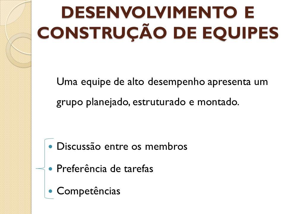 DESENVOLVIMENTO E CONSTRUÇÃO DE EQUIPES Uma equipe de alto desempenho apresenta um grupo planejado, estruturado e montado. Discussão entre os membros