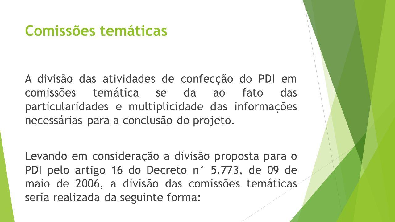 Comissões temáticas A divisão das atividades de confecção do PDI em comissões temática se da ao fato das particularidades e multiplicidade das informa