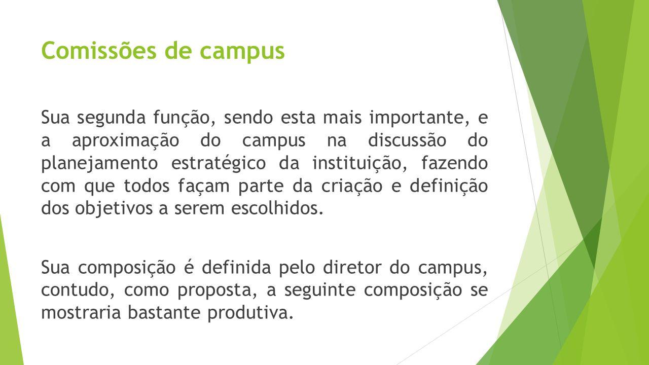 Comissões de campus Sua segunda função, sendo esta mais importante, e a aproximação do campus na discussão do planejamento estratégico da instituição,