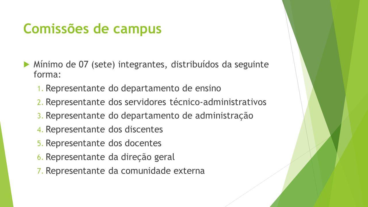 Comissões de campus Mínimo de 07 (sete) integrantes, distribuídos da seguinte forma: 1. Representante do departamento de ensino 2. Representante dos s
