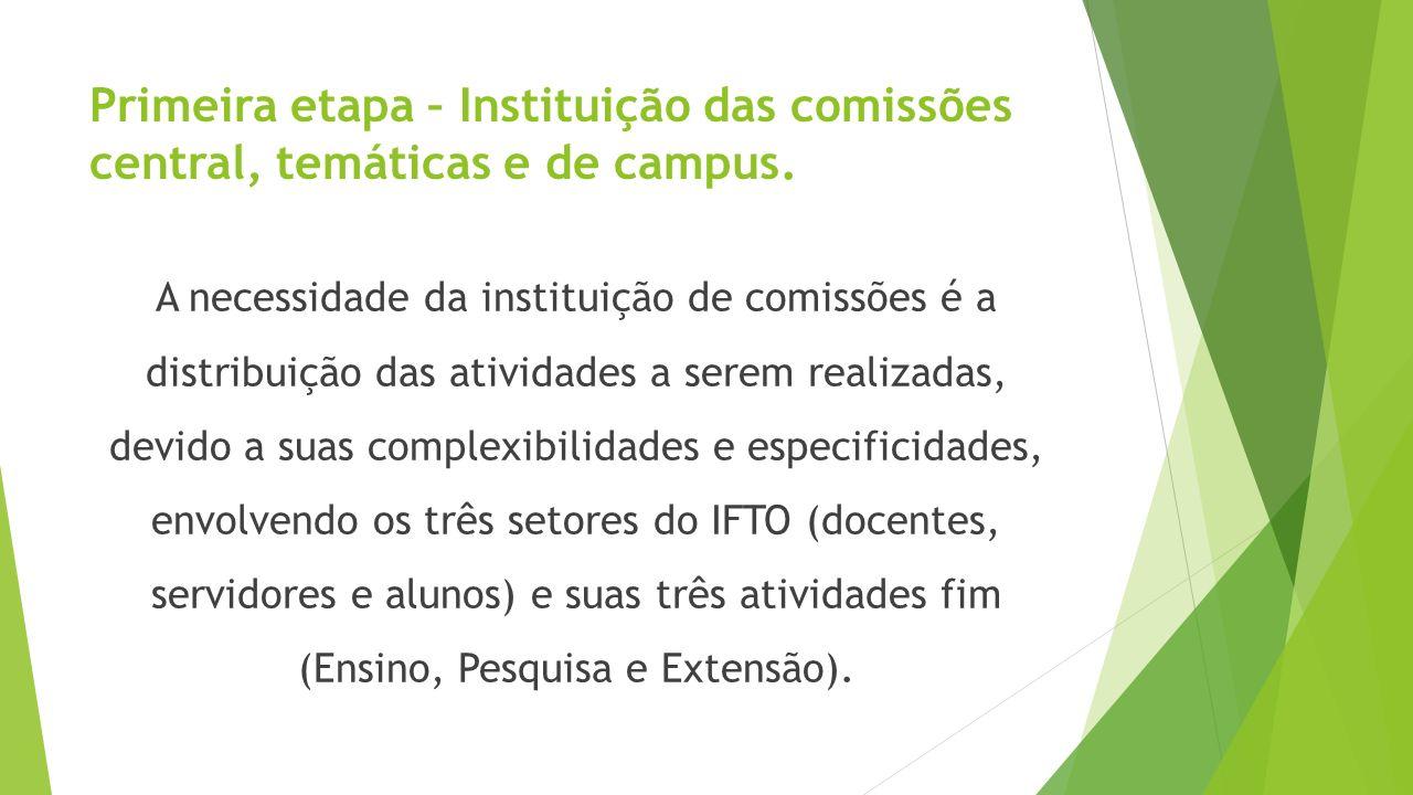 Primeira etapa – Instituição das comissões central, temáticas e de campus. A necessidade da instituição de comissões é a distribuição das atividades a