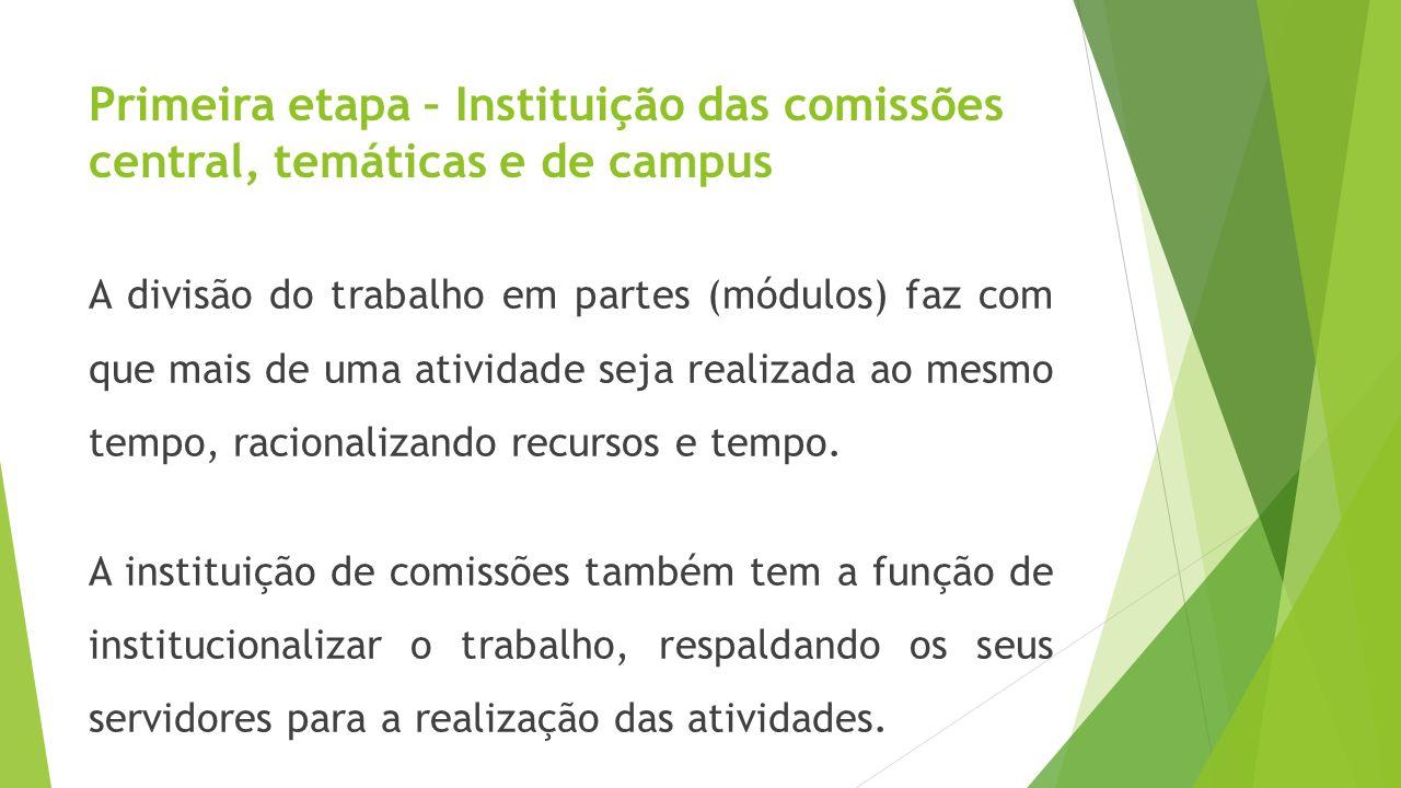 Primeira etapa – Instituição das comissões central, temáticas e de campus A divisão do trabalho em partes (módulos) faz com que mais de uma atividade
