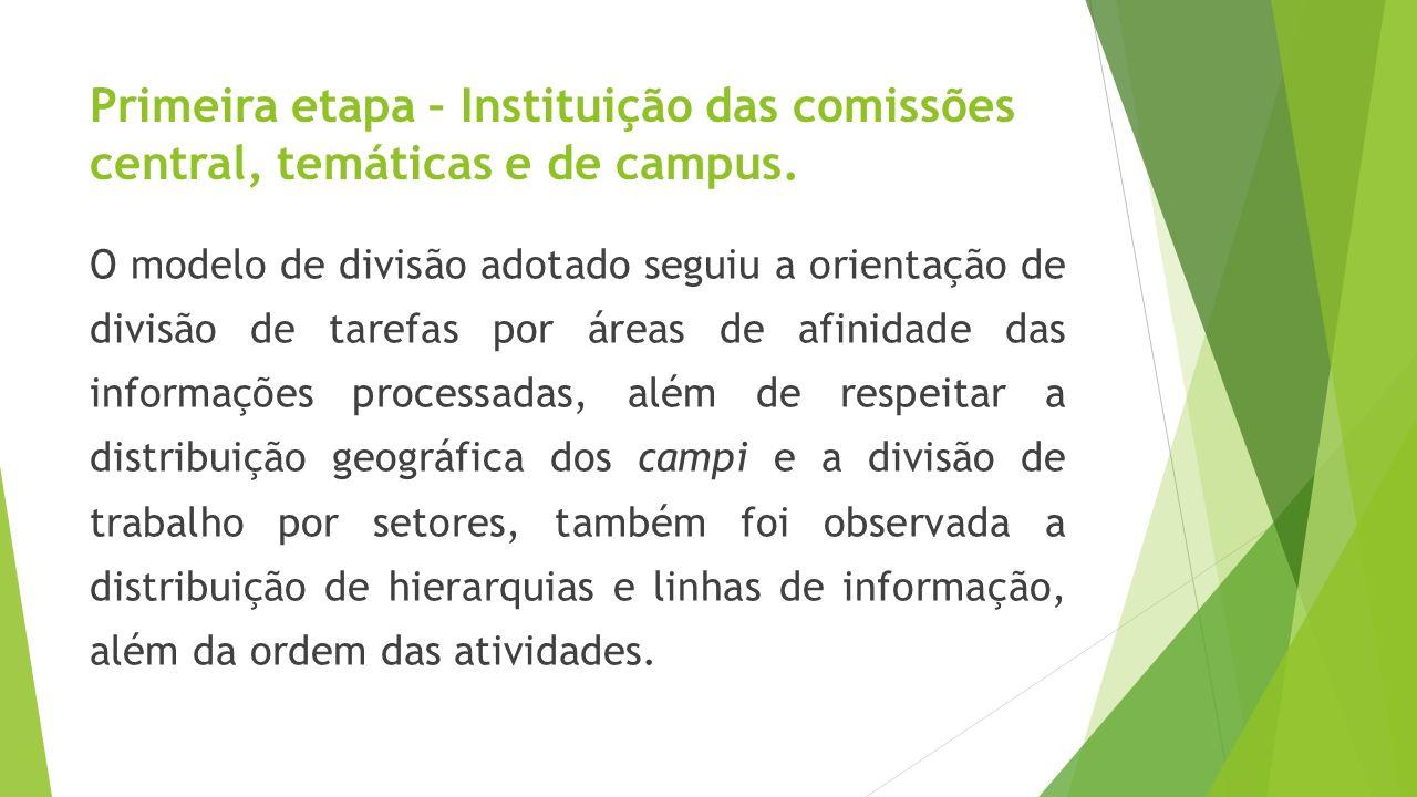 Primeira etapa – Instituição das comissões central, temáticas e de campus. O modelo de divisão adotado seguiu a orientação de divisão de tarefas por á