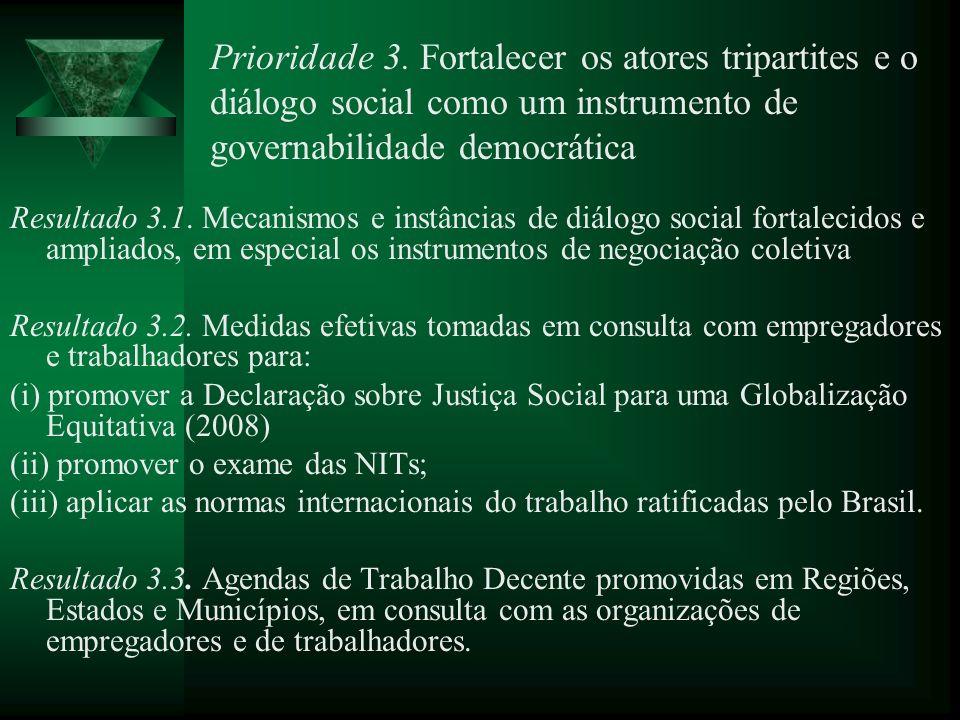 Prioridade 3. Fortalecer os atores tripartites e o diálogo social como um instrumento de governabilidade democrática Resultado 3.1. Mecanismos e instâ