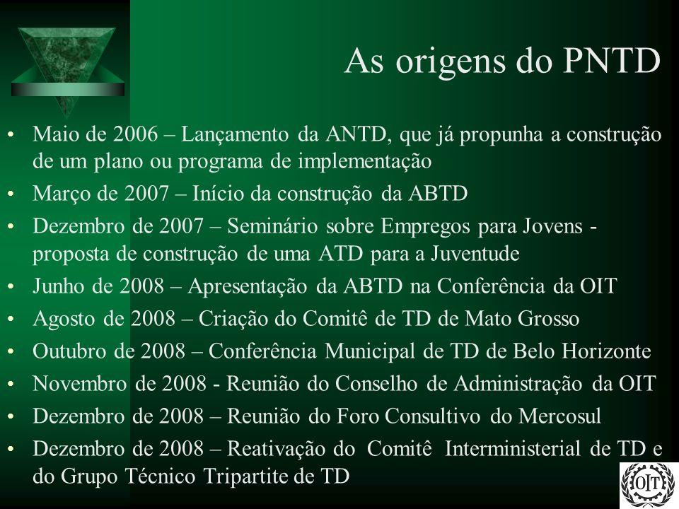 As origens do PNTD Maio de 2006 – Lançamento da ANTD, que já propunha a construção de um plano ou programa de implementação Março de 2007 – Início da