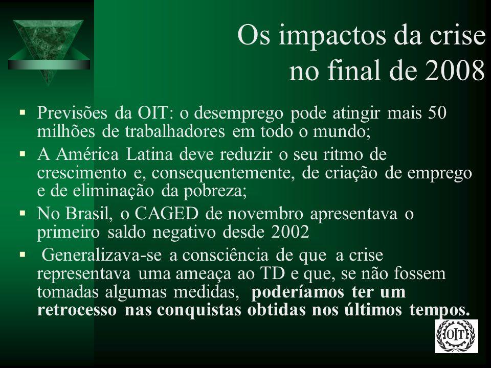 Os impactos da crise no final de 2008 Previsões da OIT: o desemprego pode atingir mais 50 milhões de trabalhadores em todo o mundo; A América Latina d