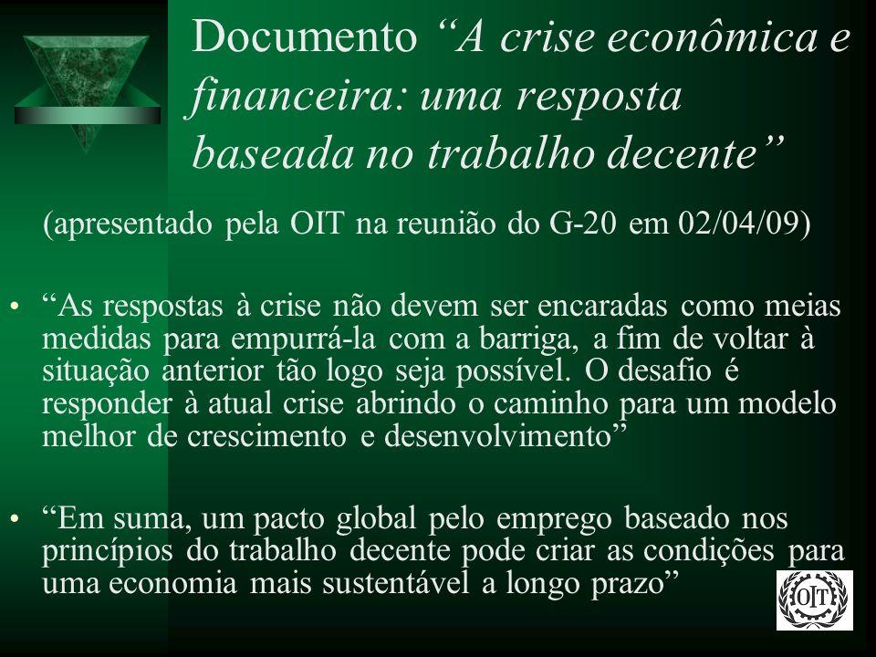 Documento A crise econômica e financeira: uma resposta baseada no trabalho decente (apresentado pela OIT na reunião do G-20 em 02/04/09) As respostas
