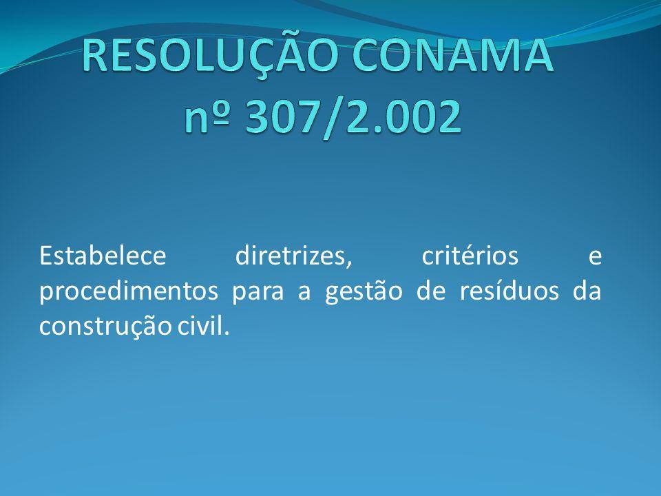 Estabelece diretrizes, critérios e procedimentos para a gestão de resíduos da construção civil.