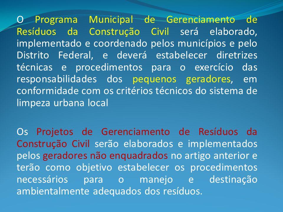 O Programa Municipal de Gerenciamento de Resíduos da Construção Civil será elaborado, implementado e coordenado pelos municípios e pelo Distrito Feder